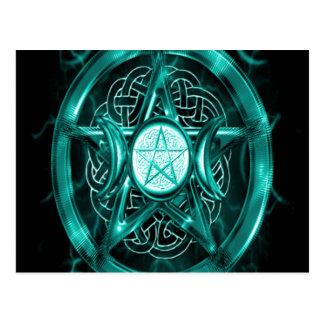 Bleu turquoise de pentagramme cartes postales