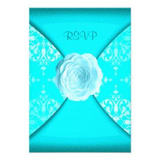 Bleu turquoise turquoise de rose de damassé toute bristol