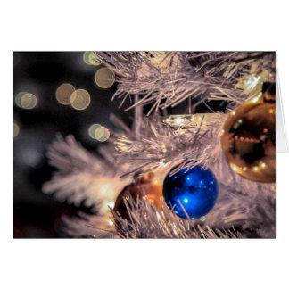 Bleu vintage de boule d'ornement de vacances carte de vœux