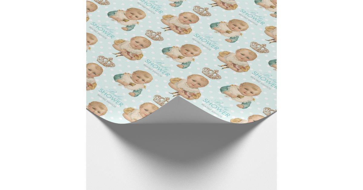 Bleu vintage de couronne de gar on de baby shower papiers cadeaux zazzle - Papier cadeau personnalisable ...