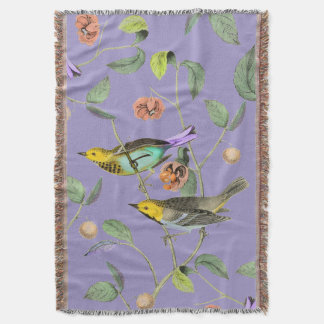 Bleu vintage de lavande d'oiseau chanteur couverture