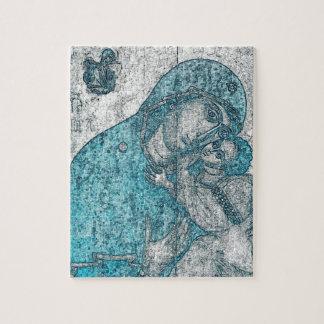 Bleu vintage de portrait d'ange de Jésus de bébé Puzzle
