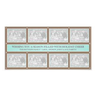 Bleus layette Brown de collage de cadre de Noël Photocartes Personnalisées