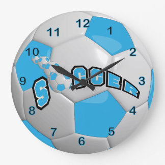 Bleus layette du ballon de football   grande horloge ronde