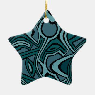 Bleus Ornement Étoile En Céramique