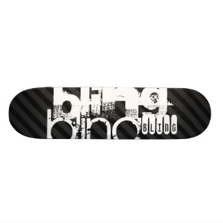 Bling ; Rayures noires et gris-foncé Skateboards Personnalisés