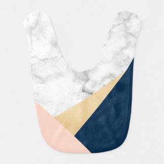 bloc bleu de couleur de pêche de marbre blanche bavoir