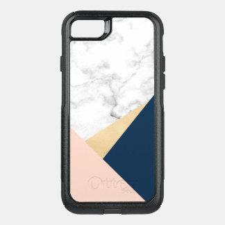 bloc bleu de couleur de pêche de marbre blanche coque OtterBox commuter iPhone 8/7