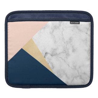 bloc bleu de couleur de pêche de marbre blanche housses iPad