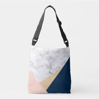 bloc bleu de couleur de pêche de marbre blanche sac