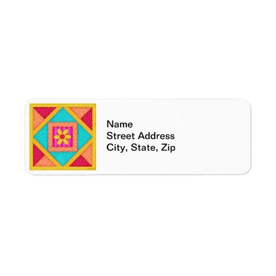 Bloc coloré d'art d'édredon de patchwork étiquette d'adresse retour