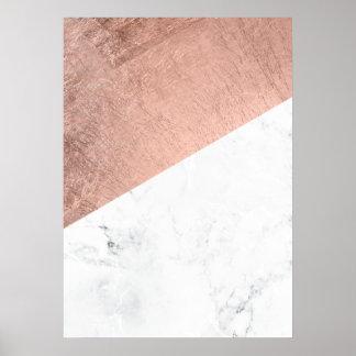 Bloc de marbre blanc de couleur d'or rose moderne affiche