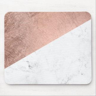 Bloc de marbre blanc de couleur d'or rose moderne tapis de souris