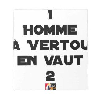 Bloc-note 1 HOMME À VERTOU EN VAUT 2 - Jeux de mots