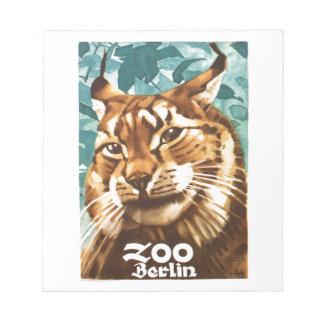 Bloc-note Affiche 1930 de Lynx de zoo de Ludwig Hohlwein