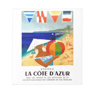 Bloc-note Affiche 1957 de voyage de Français de Cote d'Azur