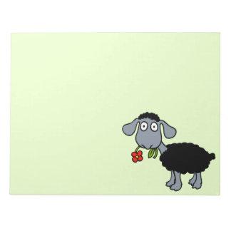 Bloc-note Agneau mignon de bande dessinée de moutons noirs