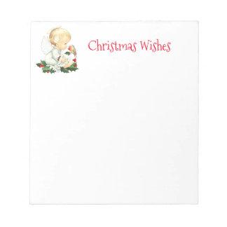 Bloc-note Ange de Noël et souhaits de Noël de Robin