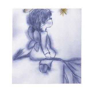 Bloc-note Ange souhaitant sur une étoile - teinte bleue
