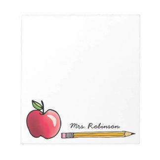 Bloc-note Apple et le crayon ont personnalisé le professeur