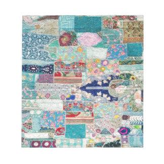 Bloc-note Aqua et conception bleue de tapisserie d'édredon