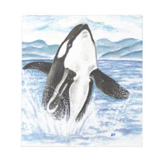Bloc-note Aquarelle ouvrant une brèche la baleine d'orque