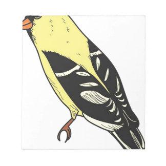 Bloc-note Art américain d'oiseau de chardonneret