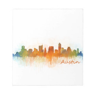 Bloc-note Austin Texas skyline Watercolor v3