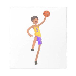 Bloc-note Autocollant sautant d'action de joueur de basket