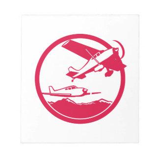 Bloc-note Avions de voilure fixe enlevant le cercle rétro