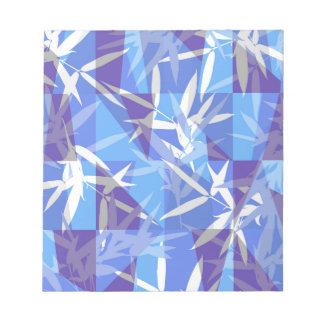 Bloc-note Bambou dans le motif géométrique bleu
