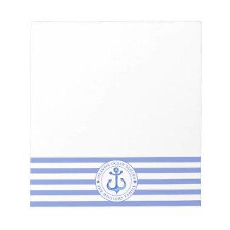 Bloc-note Bleu marine nautique d'ancre barré personnalisé