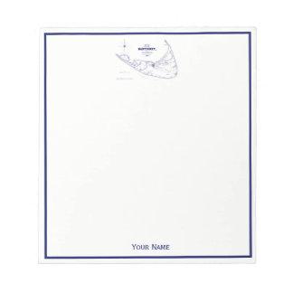 Bloc-note Bleu marine vintage de carte de mA d'île de