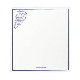 Bloc-note Bleu marine vintage de carte de Sc de Hilton Head