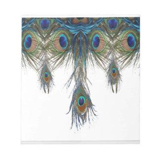 Bloc-note bleu-vert-paon-plume-art