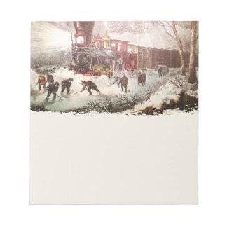 Bloc-note Bloc - notes attaché de train de neige
