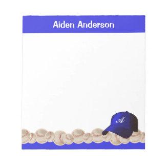 Bloc-note Bloc - notes bleu de casquette de baseball de