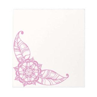 Bloc-note Bloc - notes de fleur de mandala dans le rose