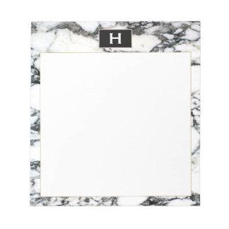 Bloc-note Bloc - notes de marbre blanc de noir vintage chic