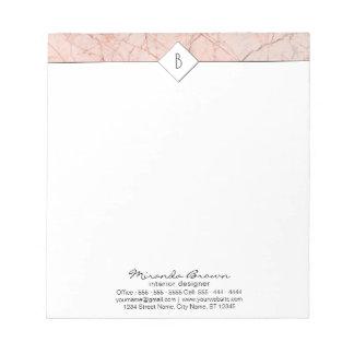 Bloc-note Bloc - notes de marbre rose élégant d'or de