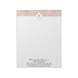 Bloc-note Bloc - notes rose élégant de marbre d'or de