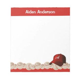 Bloc-note Bloc - notes rouge de casquette de baseball de