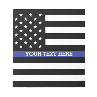 Bloc-note Blue Line mince - coutume personnalisée de drapeau