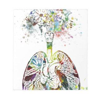 Bloc-note Cadeaux médicaux coeur et motif de poumons
