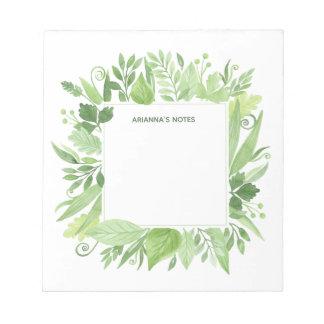 Bloc-note Cadre botanique vert Luxe du feuille |