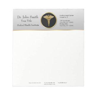 Bloc-note Caducée médical professionnel d'or - bloc - notes
