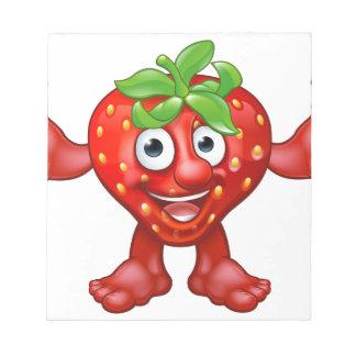 Bloc-note Caractère de mascotte de fruit de fraise de bande
