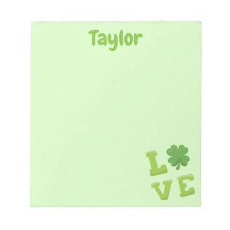 Bloc-note Caractère gras d'amour assez vert clair