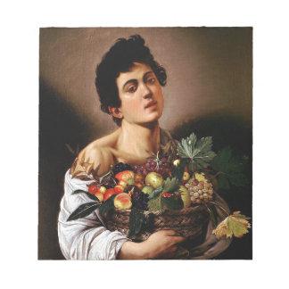 Bloc-note Caravaggio - garçon avec un panier d'illustration