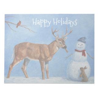 Bloc-note Cerfs communs et Noël drôle de bonhomme de neige